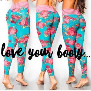 Pants - Cute booty lounge neon pink leggings